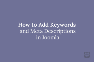 How to Add Keywords and Meta Descriptions in Joomla