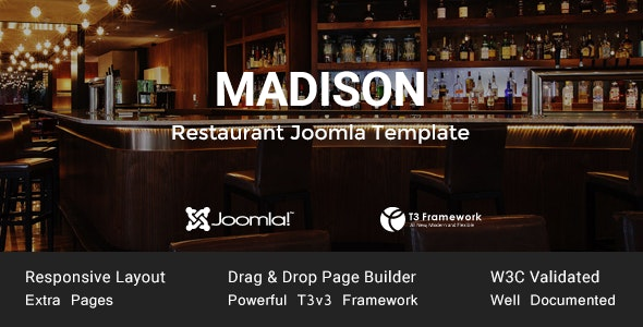 Madison Joomla Restaurant Template