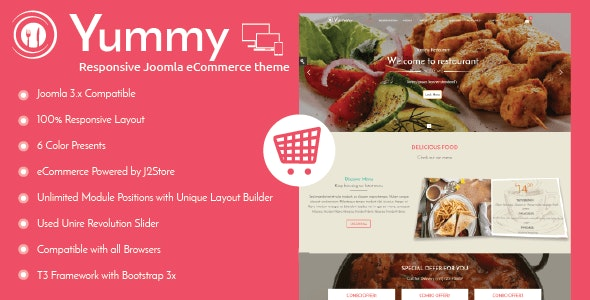 Yummy Responsive Joomla Restaurant Template