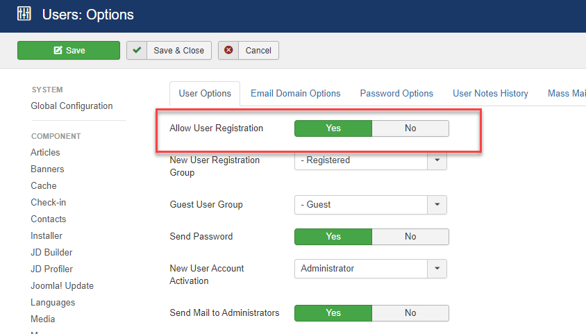 disable the user registration