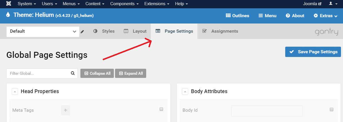 gaj-gantry-page-settings