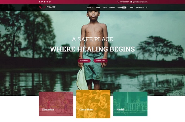 grant nonprofit charity joomla template