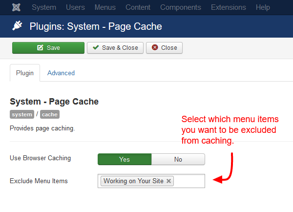 joomla-exclude-menu-items-from-cache