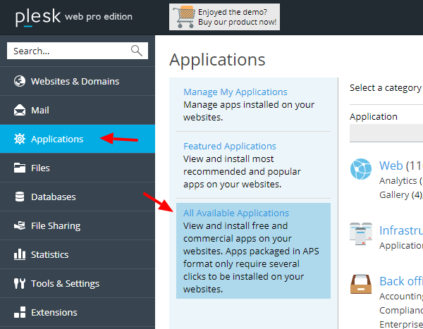 joomla-plesk-available-apps