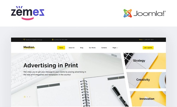median advertising agency multipage modern joomla template